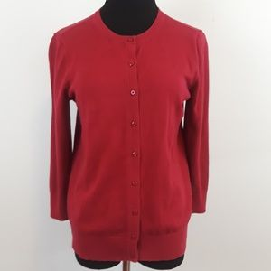 LOFT red button down cardigan size M